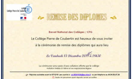 Cérémonie de remise des diplômes DNB / CFG le 13 décembre prochain