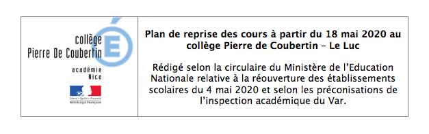 Consultez le plan de reprise au collège Pierre de Coubertin