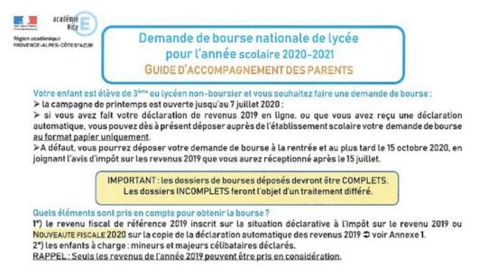 Bourses Lycée rentrée 2020 : Téléchargez le dossier de demande et déposez-le avant le 7 Juillet