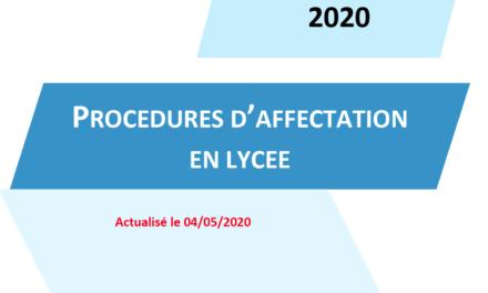 Consultez le guide des procédures d'affectation en lycée pour la rentrée 2020