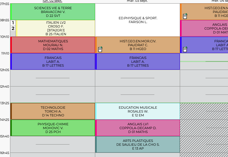 Nouveaux horaires de cours et allongement de la pause méridienne