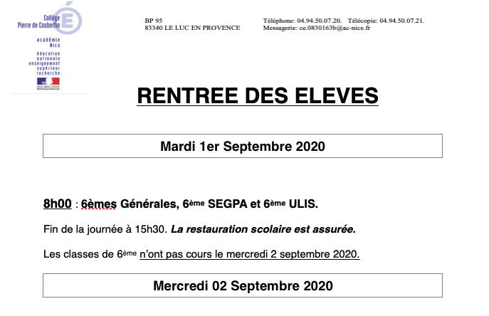 Consultez le programme de la rentrée de Septembre 2020 au collège Coubertin