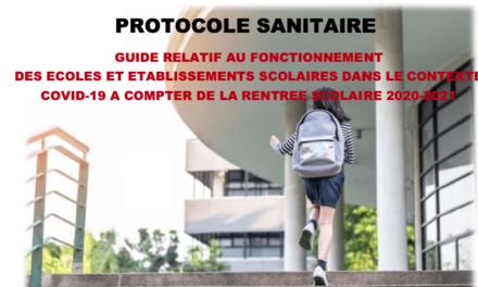 Protocole sanitaire : rentrée scolaire 2020-2021