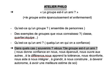 Au programme des ateliers Philo 6e : A quoi sert l'école ? Le groupe est-il un ami ?